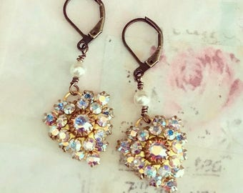 heart dangle earrings with AB Swarovski crystals and crystal pearls on antique brass lever backs  #1093-11