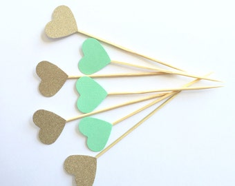 20 Gold and Mint Heart Cupcake toppers Food picks. Wedding Bridal shower, Birthday Party, Baby Shower, Decor