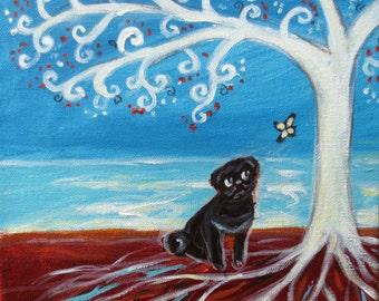 Black Pug Love Tree of Life art Original Dog Painting by Angie Ketelhut