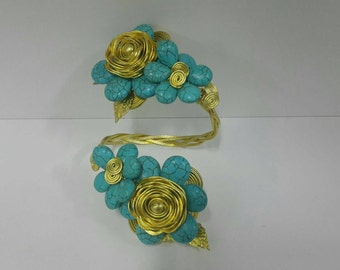 Turquoise Blacelet Cuff Brass