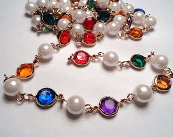 3 ft. -  Gold plated faux pearl/multi color channel link chain - m233