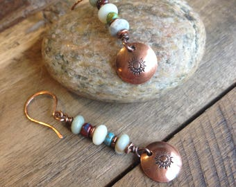 Natural Stone and Copper Earrings - Sunflower Earrings - Southwestern Earrings - Copper Drop Earrings