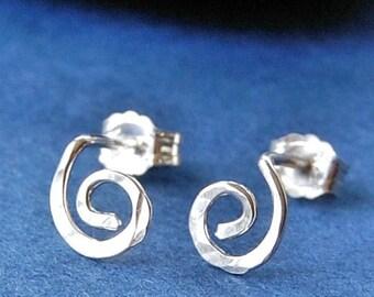Silver Studs / Stud Earrings Silver / Sterling Silver Studs / Spiral Earrings / Post Earrings /  Unique Stud Earrings / Organic Open Spiral