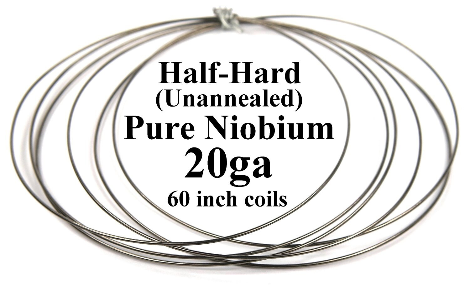 Pure Niobium Wire, 20 gauge (.031 inch /.8mm / 20ga AWG), 5 foot (60 ...