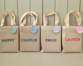 Personalised 20 x 25cm cotton bridesmaid / pageboy bag + 65mm tag - any colour