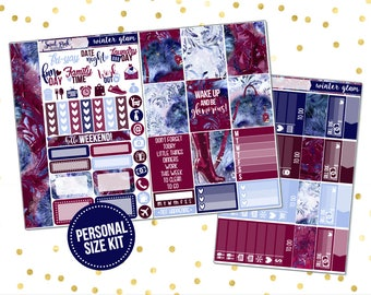 Winter Glam // PERSONAL Size Kit [PS0107] -Stickers for the EC Happy Planner Life planner