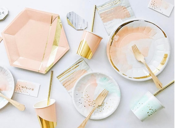 $10.57 & Pastel Watercolor Paper Plates Gold Party Plates Peach and Mint ...