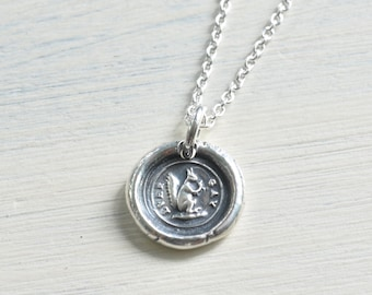 squirrel wax seal necklace - ever gay - silver Victorian trinket wax seal jewelry