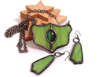 Stained Glass Jewelry Set Green Glass Necklace Earrings Set Handmade Jewelry Lime Green Statement Jewelry  Glass  Metal Jewelry Unique Set