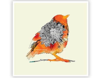 Orange Bird by Iveta Abolina - Floral Illustration Print