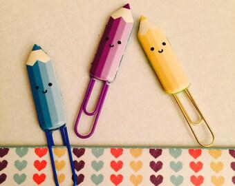 Kawaii Pencil Paper Clip /Passion Planner, Erin Condren, Filofax, planner stickers