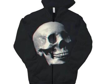 Skull Graphic Print Full Zip Hoodie. Fleece Men's / Women's Unisex Black Essential Hooded Sweatshirt. Its so cold you NEED this!!
