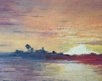 "Impressionist Art, Tropical Sunset, Textured Painting, ""Evening Show"" 6x12x.75"" oil reduced from 145.00"