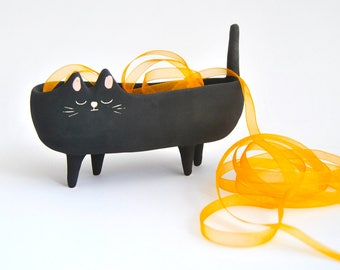 Halloween Special. Ceramic Black Cat Planter. Black Halloween Cat Bowl with Velvet Texture. Ready To Ship
