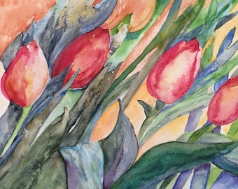 Water color painting, tulips