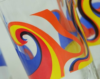 6 great 60er GLASSES drinking glasses psychedelic pop art decor