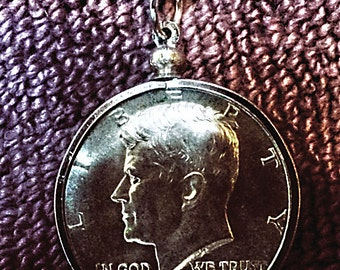 Silver Kennedy Half Dollar 1964 full luster coin necklace  brilliant uncirculated half, bale, and chain.