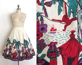 vintage 1950s skirt | 50s scenic boarder print skirt
