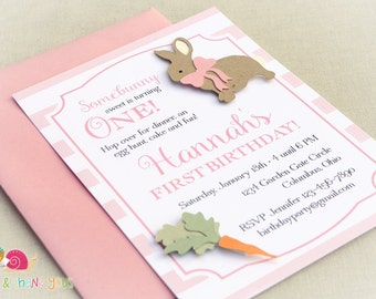 Pink Bunny Invitations · A6 FLAT · Birthday Party   Baby Shower   First Birthday   Easter Egg Hunt