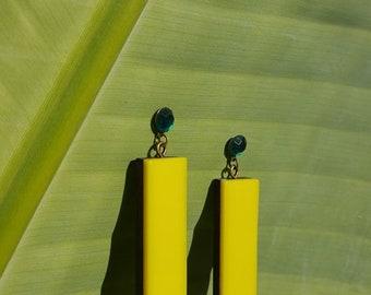 Yellow acrylic and wood earrings