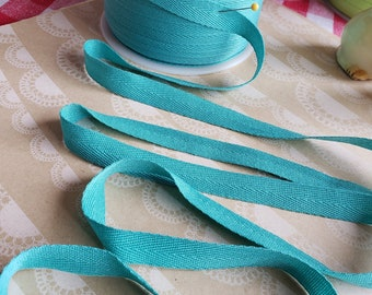 """AQUA Twill Tape Trim - Polyester Sewing Banners Bunting Shipping Packaging - 1/2"""" Wide - 10 Yards"""
