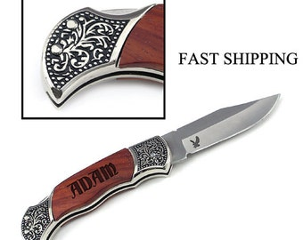 Hunting Knife/Engraved/Groomsman Gift/Wedding Gift/Rosewood/Symbol/Personalized/Pocket Knife/Custom Engraving/Father's Day Gift/Male Gift/