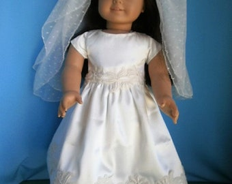 First Communion Ensemble for American Girl Size Dolls - Dress with Veil  for 18 inch dolls