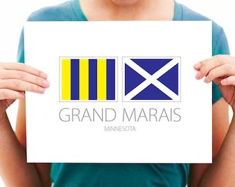 Grand Marais - Minnesota - Nautical Flag Art Print