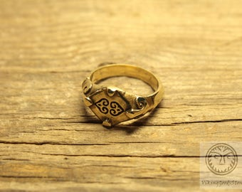 Medieval Ring, Middle Ages, 14 century, Reenactment, LARP, SCA, Ancient Jewelry, Replica, Historical, Fleur De Lis, Floral Pattern, Sprout