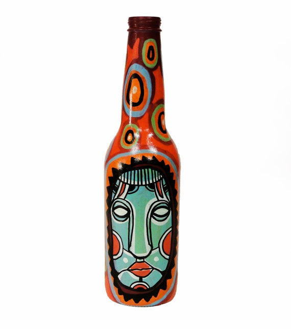 Bottle NO. 73 - Original Mixed Media illustration on Beer Bottle