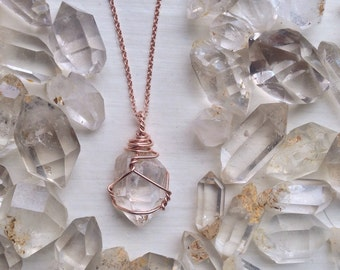 Raw Herkimer Diamond Necklace - Double Terminated Quartz Crystal - 100% Rose Gold or Yellow Gold Filled Wire and 18 Inch Cable Chain - MTO