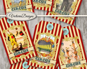 Circus Tags striped red printable paper crafting scrapbooking digital download instant download digital collage sheet - VDTACI1437