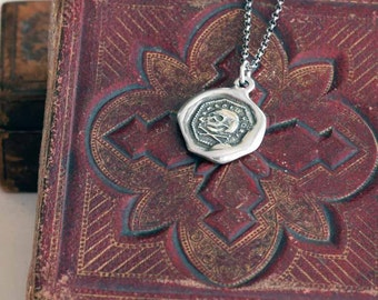 Skull & Crossbone Necklace -  Memento Mori Wax Seal Skull Necklace - 347