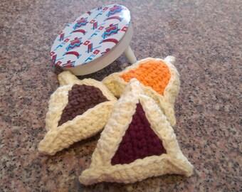 Hamantashen Purim Set of Three Crochet Hamantaschen Cookie