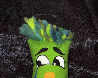 Puppet to puppet child's hand. Lime green dog. Lime green puppet