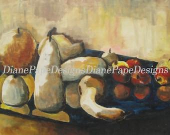 "Fall Reflection 5x7 Signed Print w/2"" Border - Traditional Art, Cozy Home, Vegetables, Warm, Autumn, Squash, Apples, Pumpkin, Vintage, Ochre"