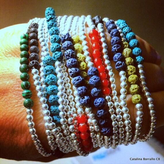 Bracelet silver and semi-precious minerals