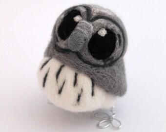 Needle Felted Owl Miniature Grey Owl, Felt Bird