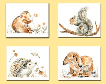 Watercolor Animals, Nursery Print Set, Gender Neutral Nursery Art, gift for baby, Animal Nursery Decor, gift for new mom