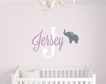 Elephant Name Decal, Personalized Decals, Childrens Name Decals, Elephant Wall Decal, Girls Bedroom, Boys room, Name Decal set with Elephant