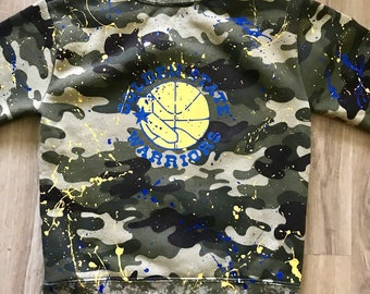 Kids Warrior Army Sweater with Paint Splatter Size: 5T