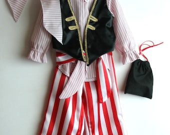 Pirate costume 4T ready to ship, cosplay buccaneer carnival dress kids Jack Sparrow photo prop corsair childrens clothes, school play pirate