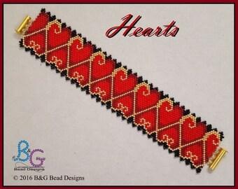 HEARTS Peyote Cuff Bracelet Pattern