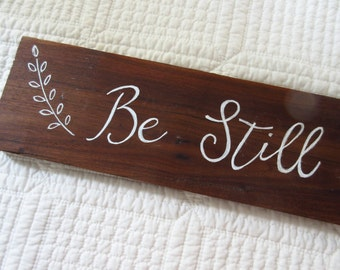 Reclaimed Wood Wall Art Be Still and Know Vintage WORD Art Wall Art Christian Home Decor