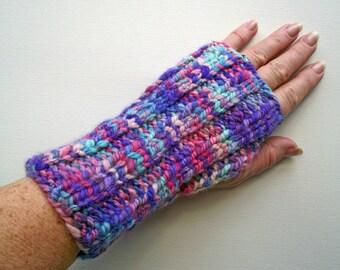 Fingerless Gloves, Handspun Artisan Wristwarmers, Pink  Purple Turquoise Mitts, Merino Texting Gloves,  Handspun Knitted Space Dyed Art Yarn