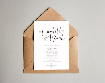 Black and White Engagement OR Wedding Invitation