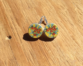 Folkish Flowers: Wood French Lever Earrings