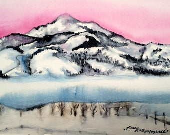 Fog on mountain painting, original watercolor painting, fog, landscape fog painting, wall decor, landscape watercolor, painting of fog