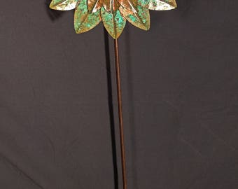 Steampunk Fold Formed Copper Sunflower with Patina
