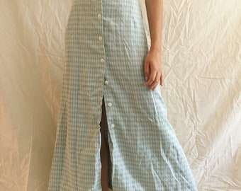 Vintage Mint Green Plaid Midi Skirt with Buttons
